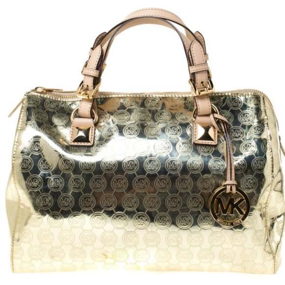 Michael Kors Grayson Large Satchel Monogram Gold
